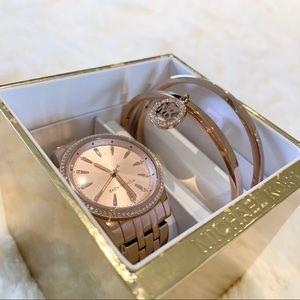 Michael Kors Ritz Rose Gold-Tone Watch + Bangles